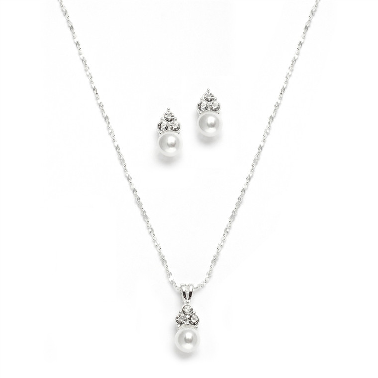 5 Sets Mariell Classic White Pearl Bridesmaid Jewelry