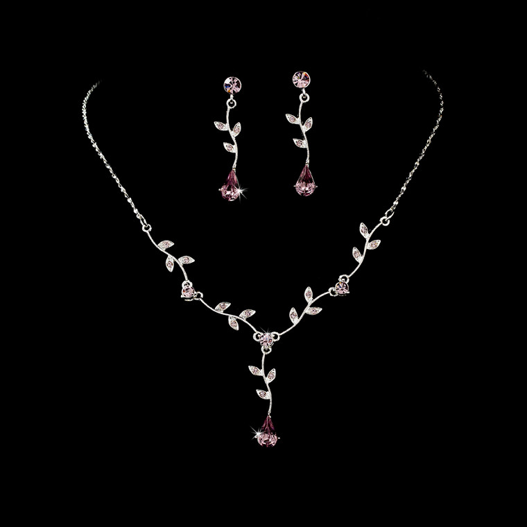 5 Sets Light Amethyst Floral Bridesmaid Jewelry