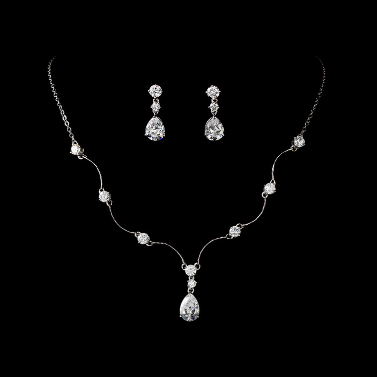 5 Sets Silver Plated Cubic Zirconia Bridesmaid Jewelry