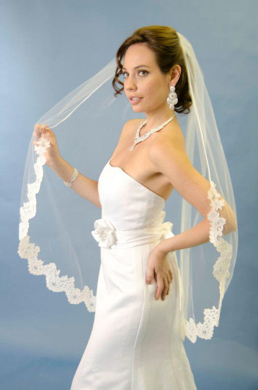 Ansonia Bridal 926 Lace Edge Fingertip Wedding Veil