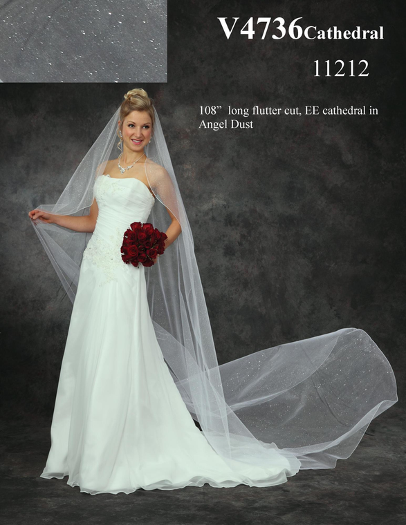 Angel Dust Tulle Sparkle Veil Cathedral Length Wedding Veil