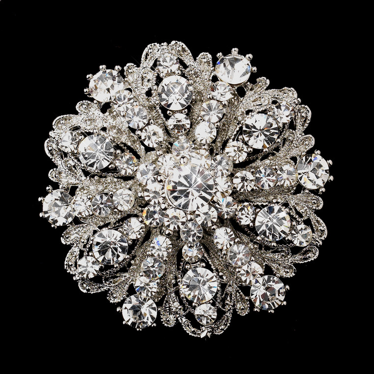 Antique Silver Crystal Wedding Brooch and Hair Comb