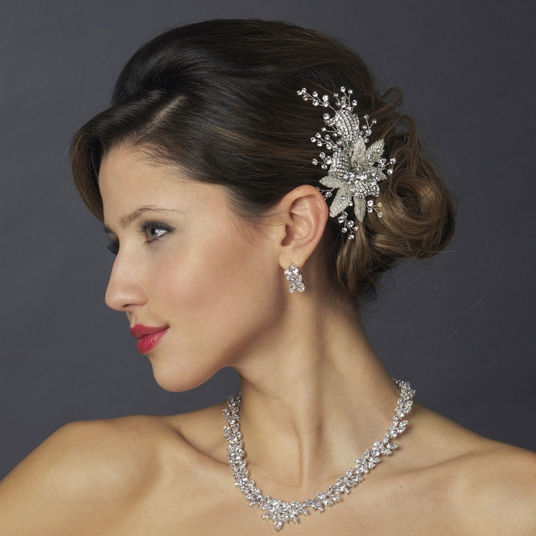 Antique Silver Crystal Floral Wedding Hair Comb