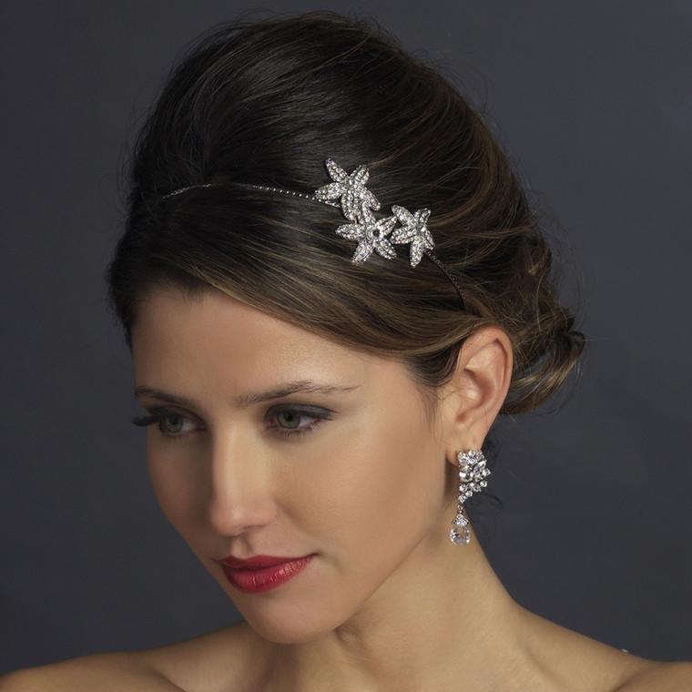 Antique Silver Plated Rhinestone Starfish Wedding Headband