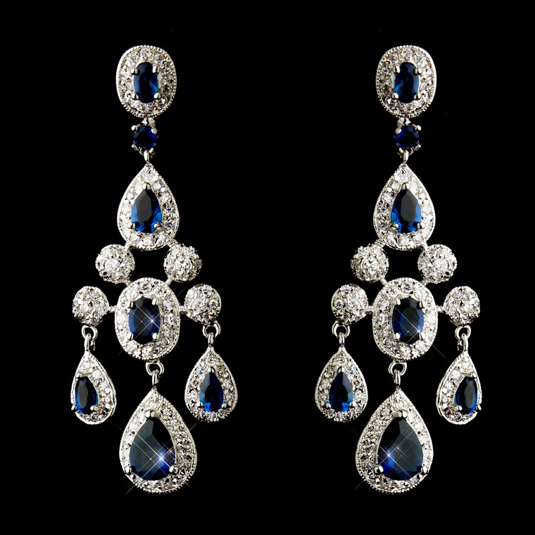 Antique Silver Sapphire Blue CZ Crystal Wedding Earrings