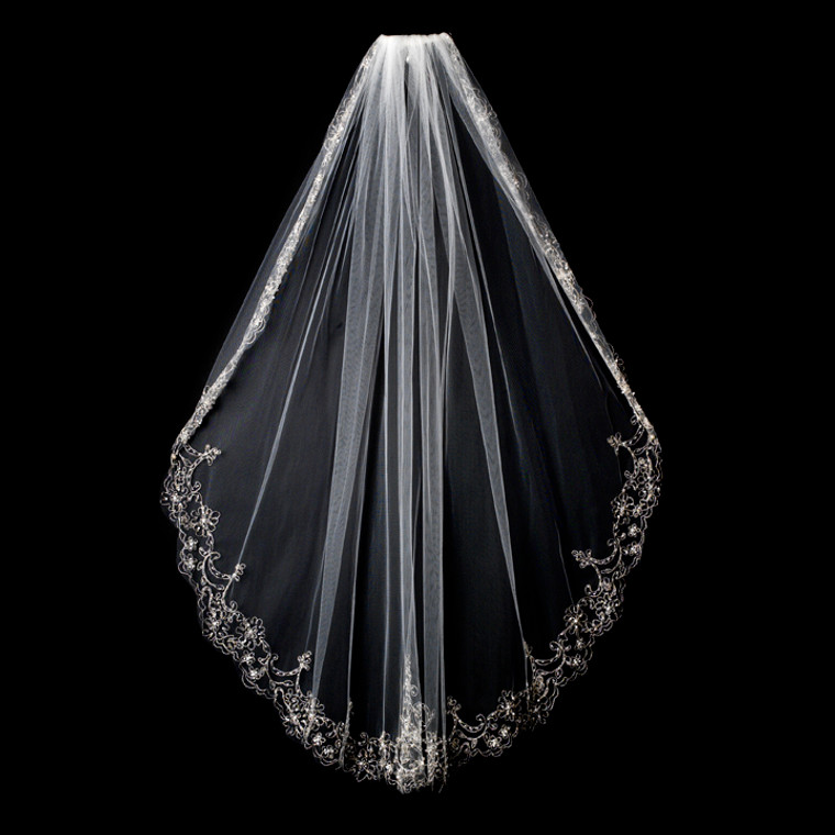 Beaded Silver Embroidery Fingertip Bridal Veil