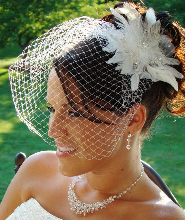 Crystal Feather Fascinator and Bridal Birdcage Veil