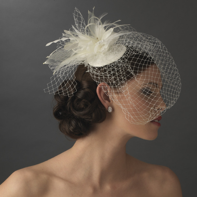 Birdcage Veil Bridal Hat with Feathers and Crystals