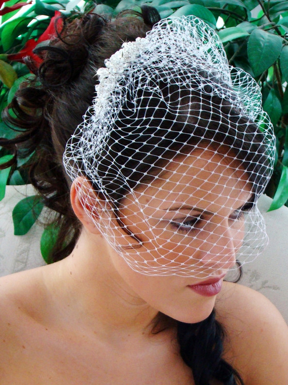 White Birdcage Wedding Veil with Pearl, Crystal and Rhinestone Comb