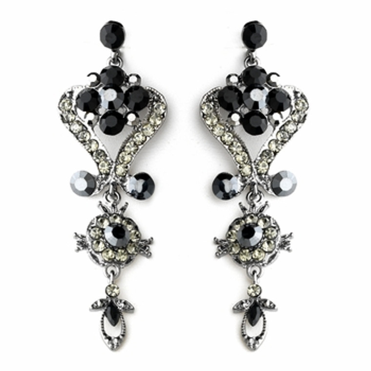 Dramatic Black and Clear Crystal Earrings