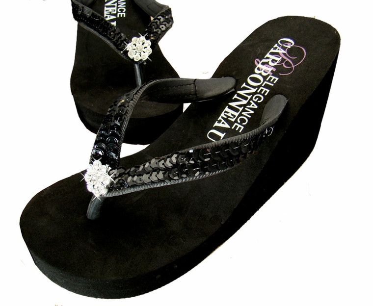 Black Sequined Bridal Wedge Flip Flops