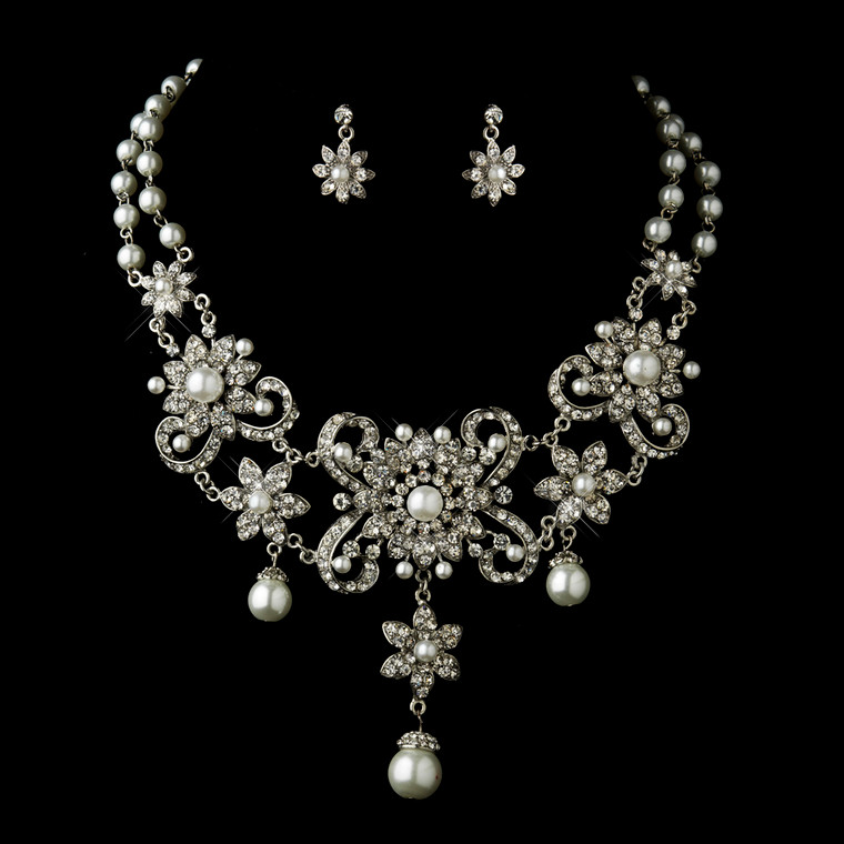 Bold White Pearl and Rhinestone Wedding Jewelry Set