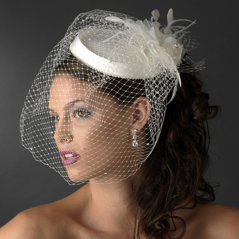 Chic Vintage Look Bridal Hat with Birdcage Veil in White
