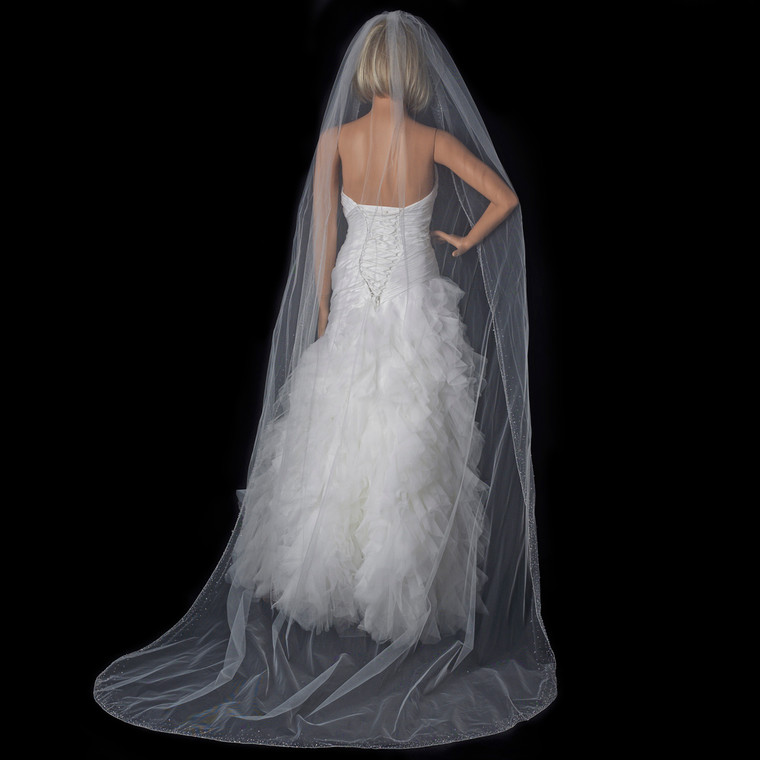 Cathedral Length Wedding Veil with Crystal Beaded Edge