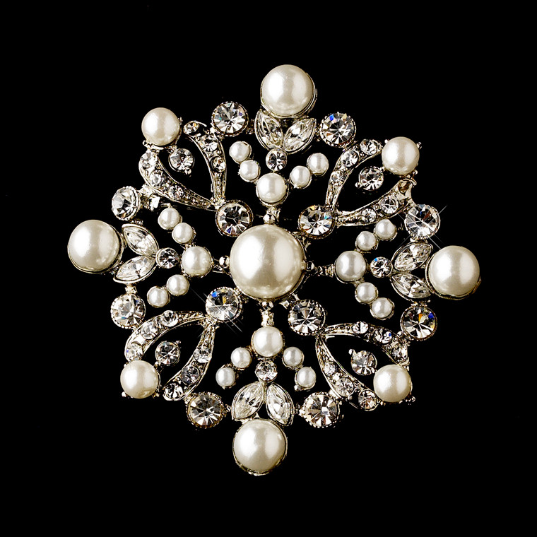Charming Snowflake Pearl and Crystal Brooch and Comb - sale!