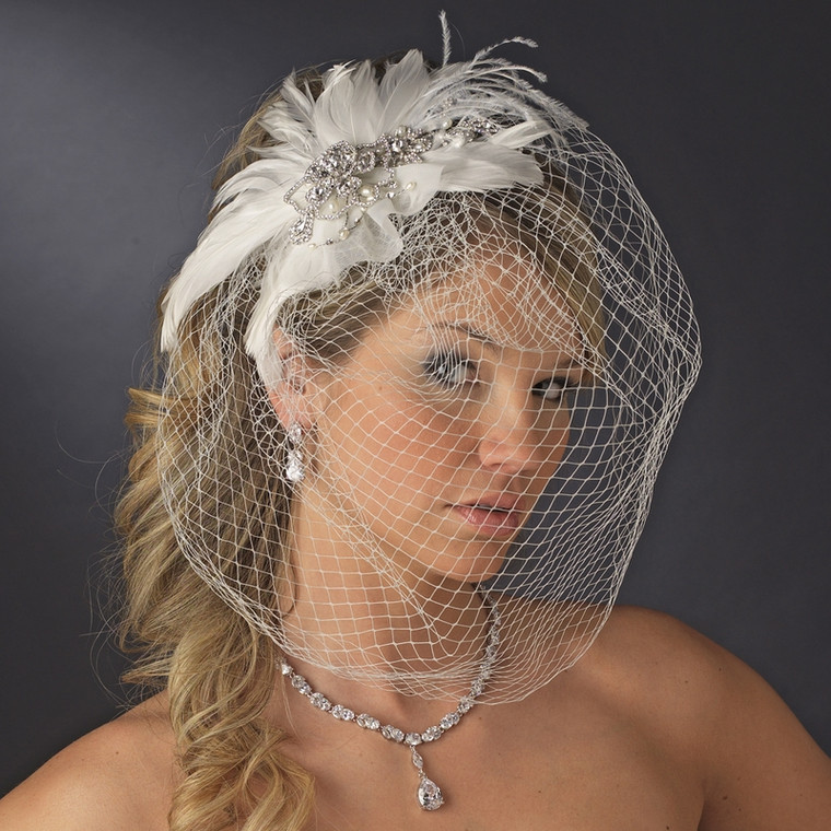 Couture Crystal and Pearl Feather Fascinator Birdcage Veil