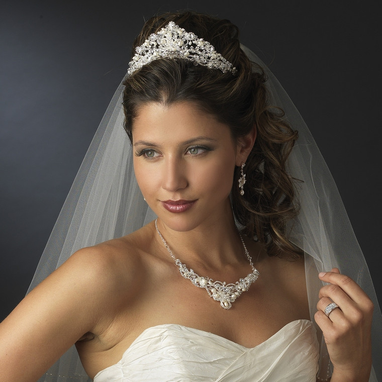 Stunning Freshwater Pearl Wedding Tiara and Jewelry Set - Silver, Gold