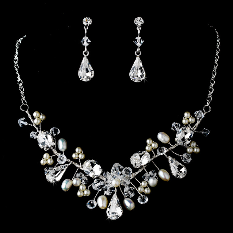Couture Pearl and Crystal Wedding Jewelry Set