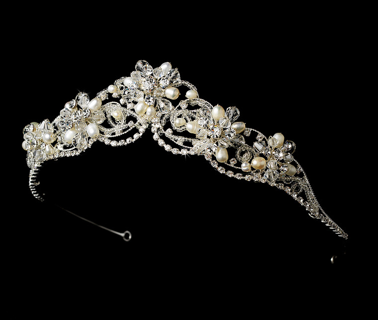 Couture Rhodium Silver Plated Freshwater Pearl and Crystal Bridal Tiara