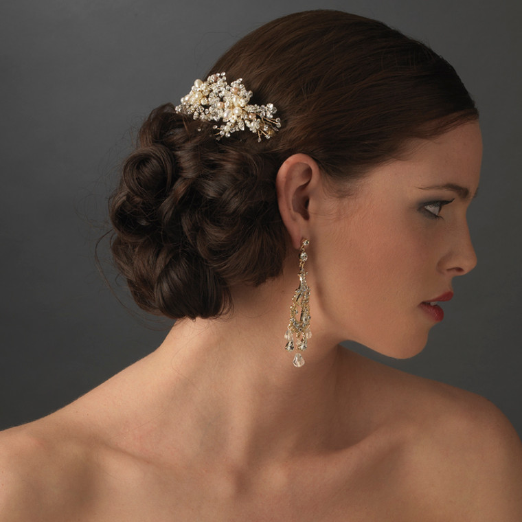 Crystal and Freshwater Pearl Gold Bridal Comb