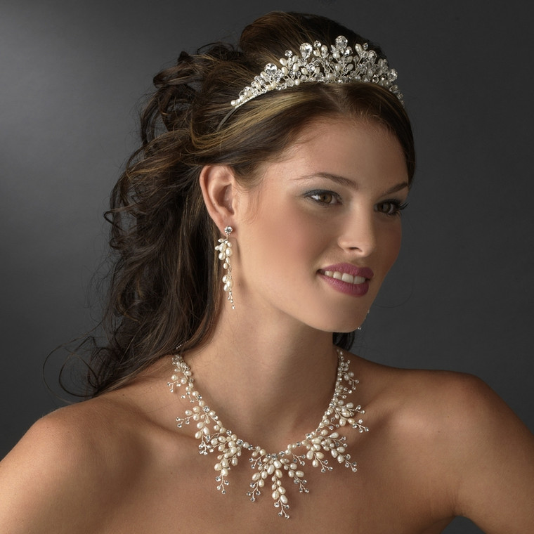 Crystal and Freshwater Pearl Wedding Tiara and Jewelry set