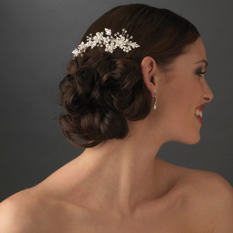 Crystal and Pearl Silver Floral Bridal Comb