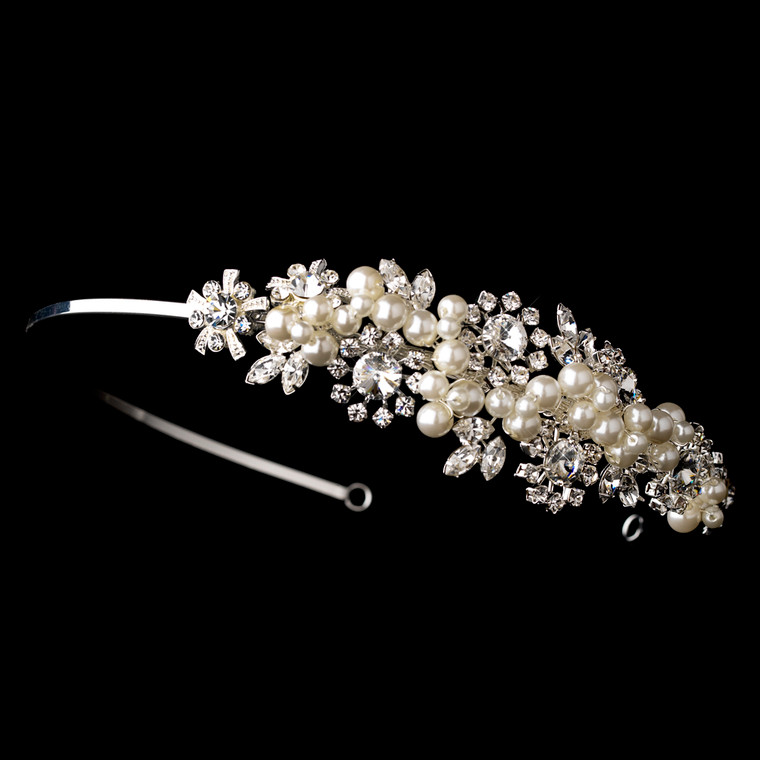 Crystal and Ivory Pearl Garden Side Accent Bridal Headband