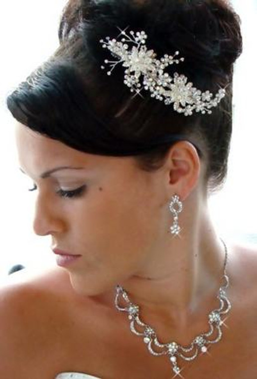 Crystal and Rum Pink Pearl Bridal Comb