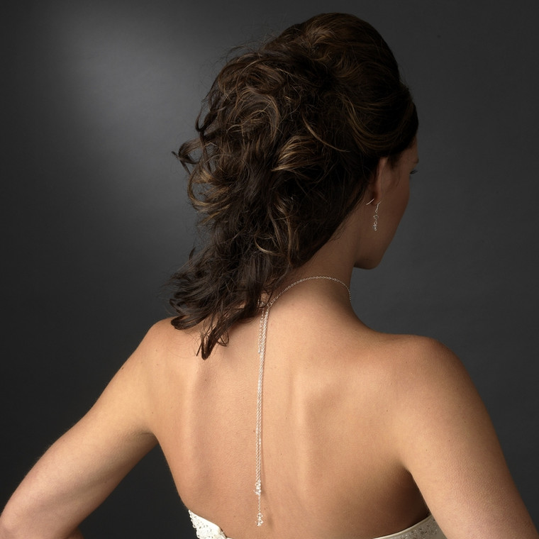 Crystal Drop Wedding Lariat Jewelry Set with Back Drop