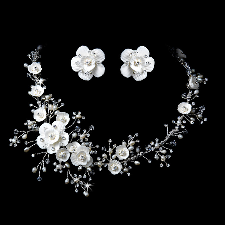 Porcelain and Pearl Floral Bridal Jewelry Set in Silver or Gold