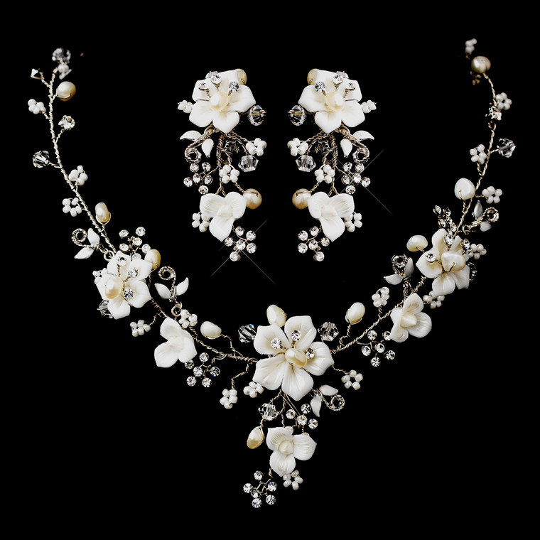 Porcelain and Pearl Silver Plated Bridal Jewelry Set with Clip On Earrings