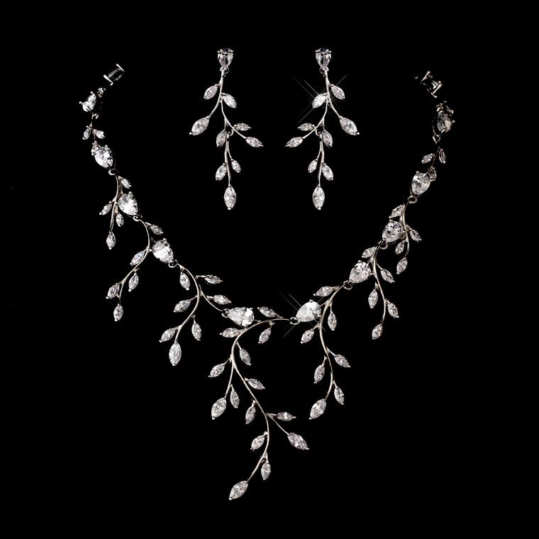 Dramatic Cubic Zirconia Vine Wedding Jewelry Set