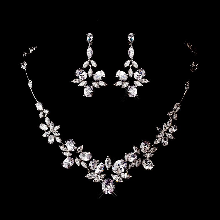 CZ Bridal Necklace and Chandelier Earrings