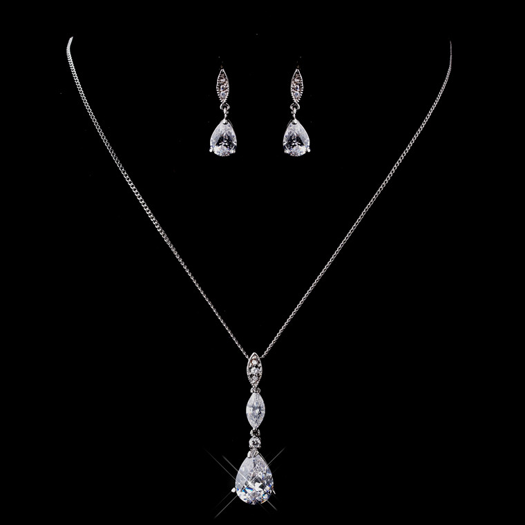 CZ Drop Wedding Necklace and Earring Jewelry Set