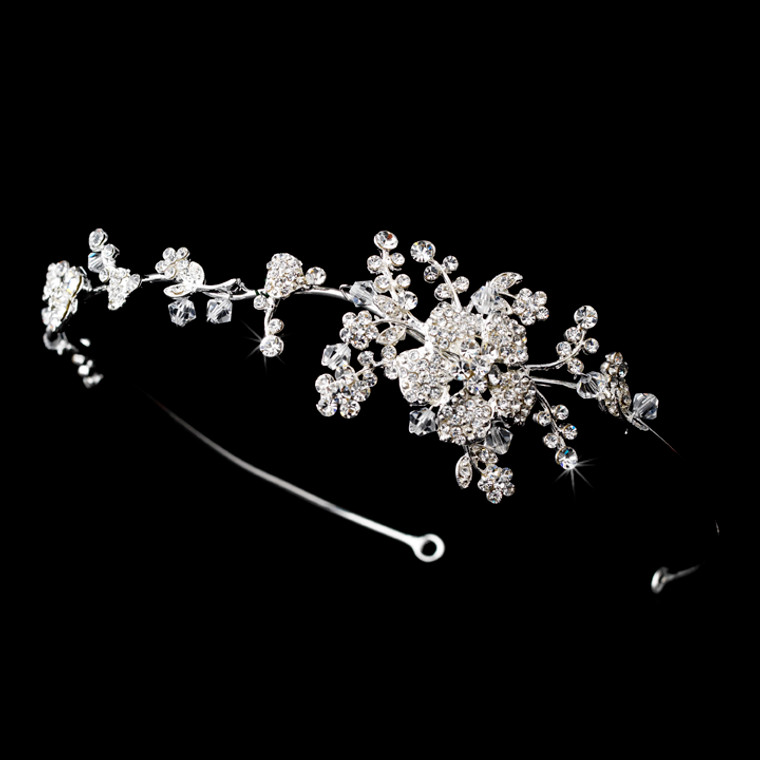 Delicate Crystal and Rhinestone Floral Bridal Headband