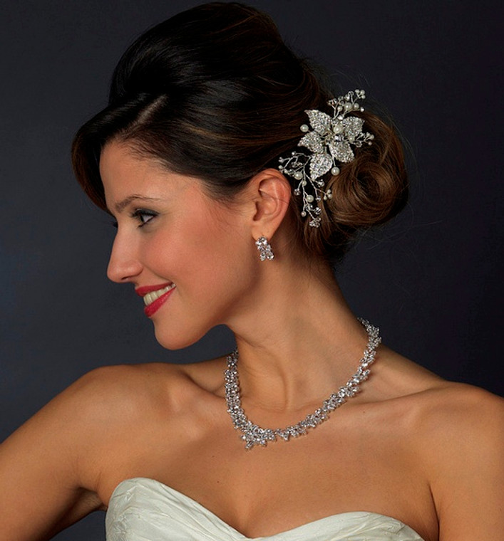 Diamond White Pearl and Crystal Floral Wedding Hair Comb