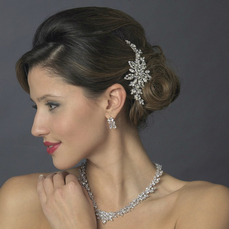 Diamond White Pearl and Diamante Rhinestone Wedding Hair Clip