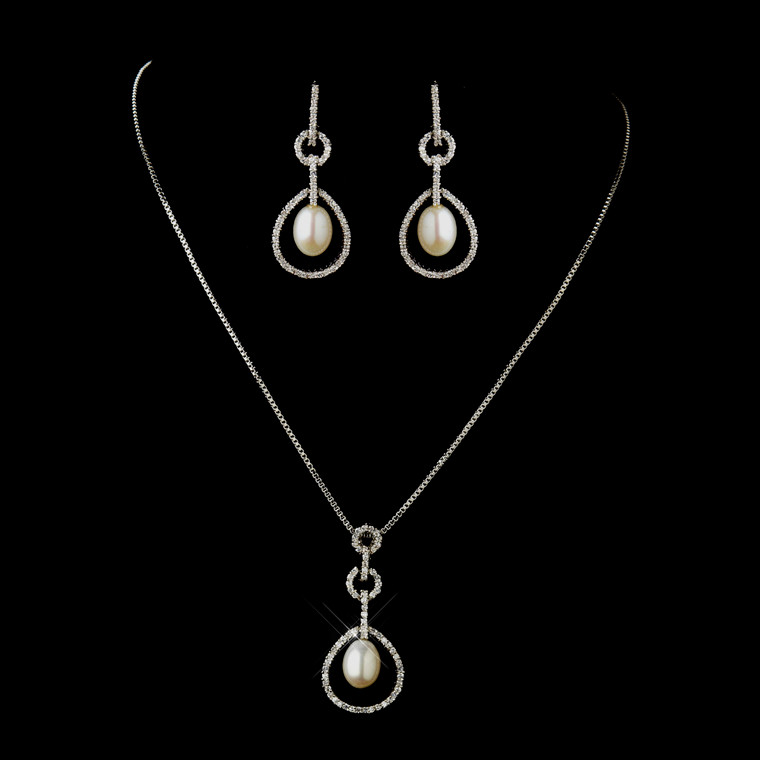 Diamond White Pearl Drop Wedding Necklace and Earrings Set