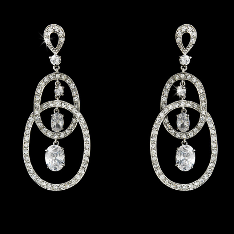 Double Loop Cubic Zirconia Bridal Earrings