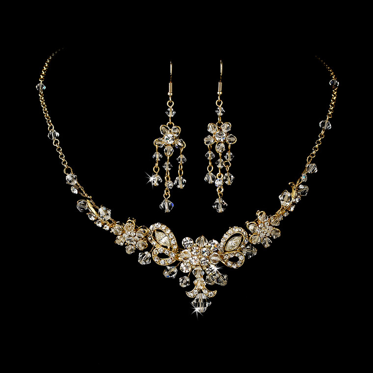 Gold Plated Crystal Wedding Jewelry Set