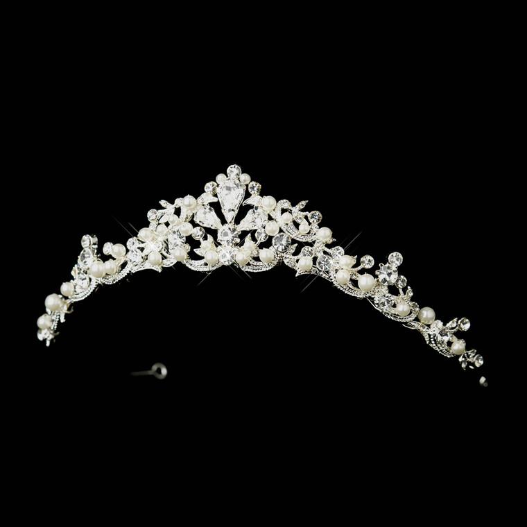 Elegant White Pearl and Rhinestone Wedding Tiara