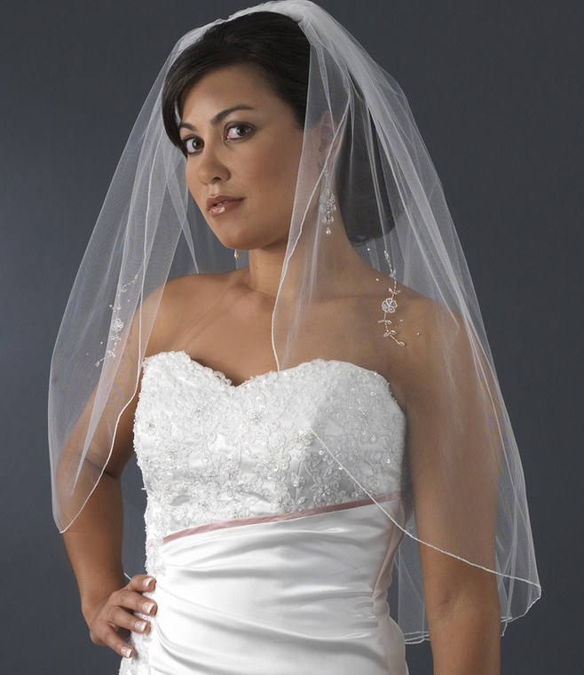 Delicately Embroidered Elbow Length Wedding Veil