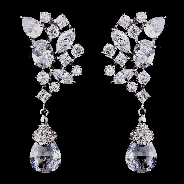 Fabulous Cubic Zirconia CZ Formal Wedding Earrings