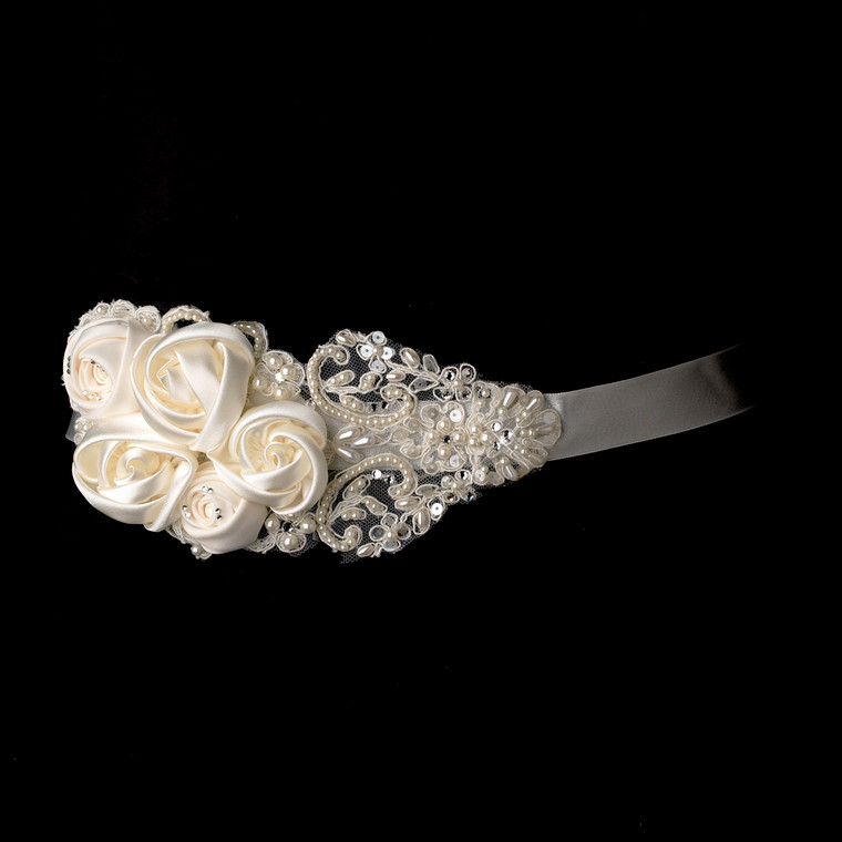 Flowers and Lace Wedding Dress Belt in White, Ivory or Black