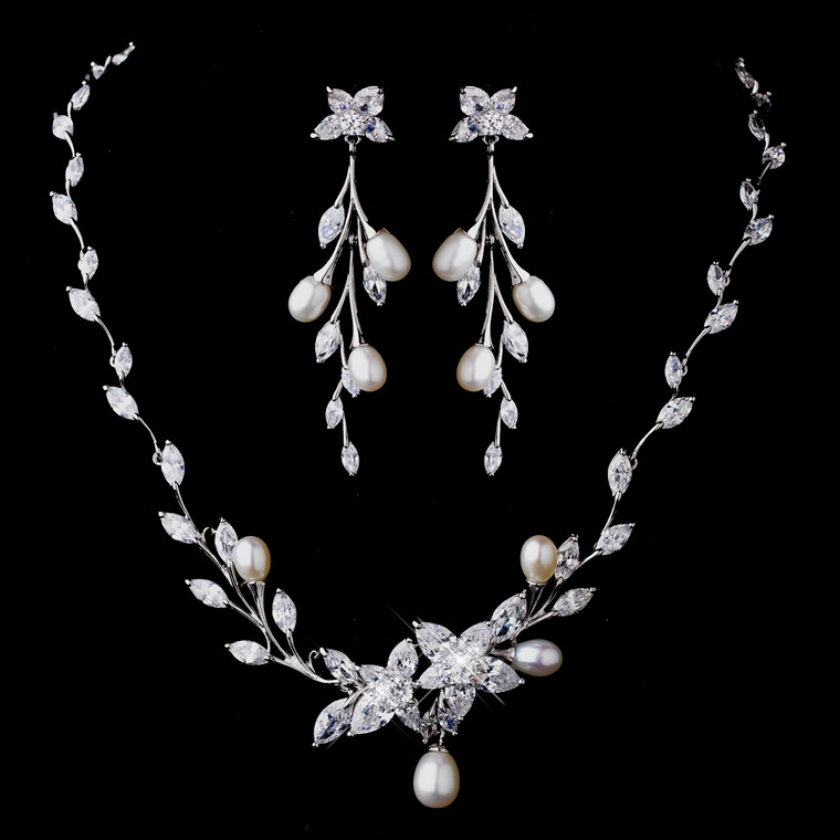 Floral CZ and Pearl Wedding Jewelry Set
