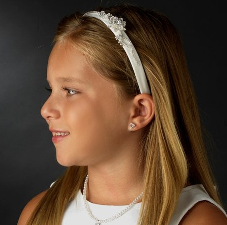 Flower Girl Crystal Side Accent Headband
