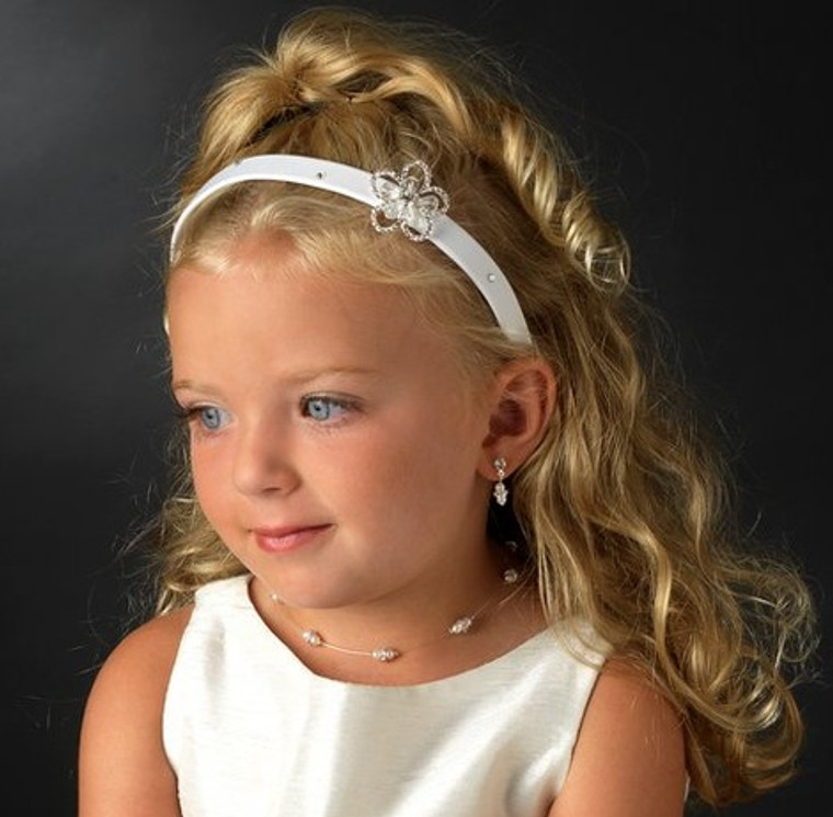 Flower Girl Headband with Rhinestones and Crystals