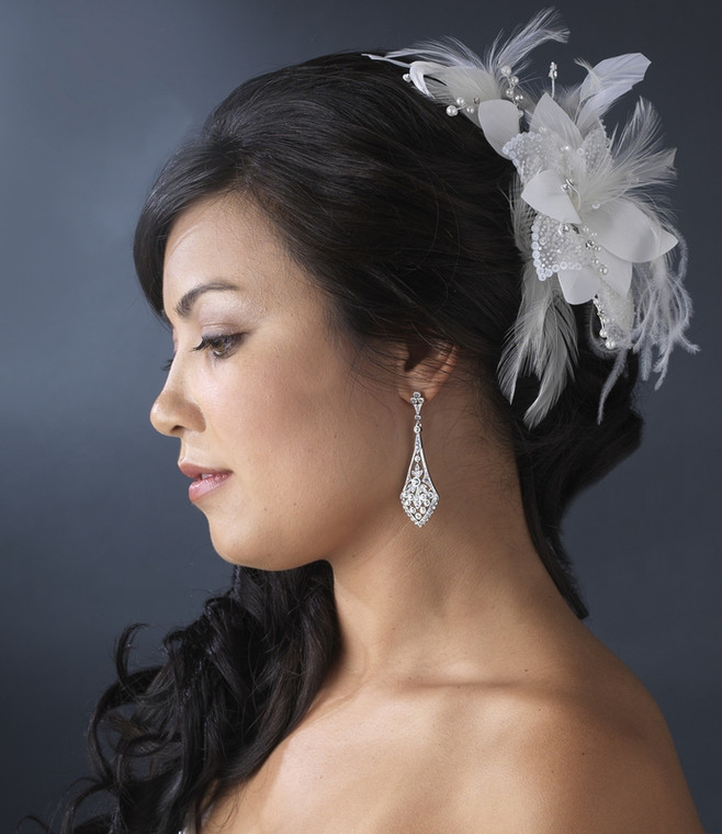 White Feather and Pearl Wedding Hair Flower Bridal Fascinator