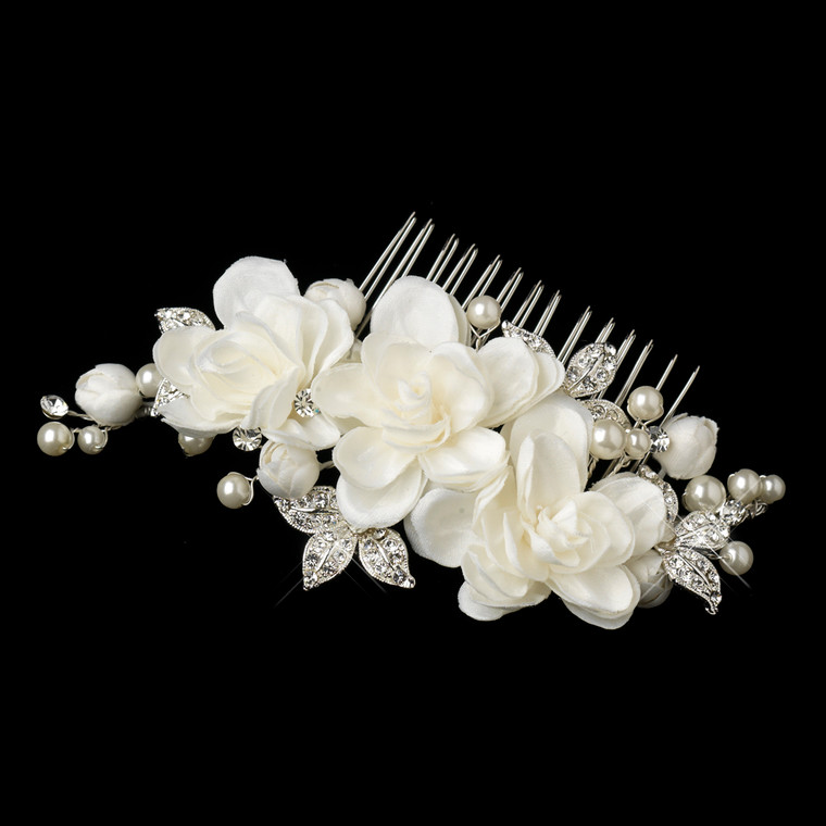 Enchanting Flower and Pearl Wedding Hair Comb