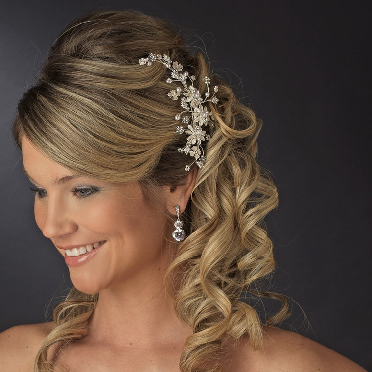 Gold Plated Floral Pearl Bridal Comb